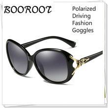 Óculos de sol polarizados femininos moda condução óculos de sol uv400 anti-reflexo óculos de sol raposa com estojo de óculos