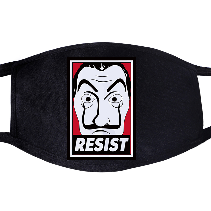 La Casa De Papel Resist Face Mask Mouth Fabric Movie Anti Dust Unisex Black Muffle Dustproof Facial  Cover Masks