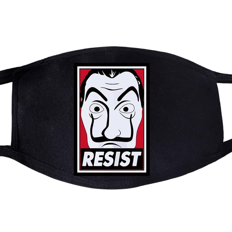 La Casa De Papel Resist Face Mask Mouth Fabric Movie Anti Dust Unisex Black Muffle Dustproof Facial  Cover Masks