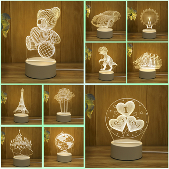 New 3D Night light Plug in originality Small table lamp bedroom Bedside lamp Acrylic customized birthday gift Decorative lamp bedroom study 3d light night light festival usb small table lamp originality acrylic atmosphere lamp gift decorate bedside lamp
