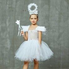 Платье пачка для девочек с белым ангелом Детский костюм на Хэллоуин