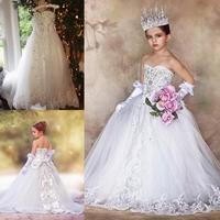 Luxury Crystal Flower Girls' Dresses for Weddings With Lace Bow Summer Communion Dress Kids Formal Wear Sweep Train Pageant Gown