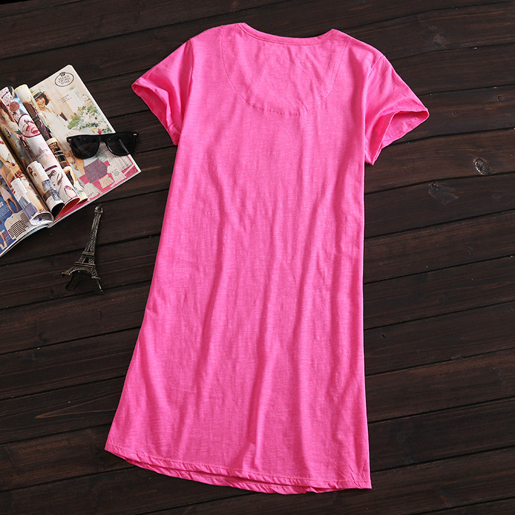 100% Pure Cotton Large Size Pajamas Short Sleeve Summer Nightgown Plus-sized Women's Home Wear