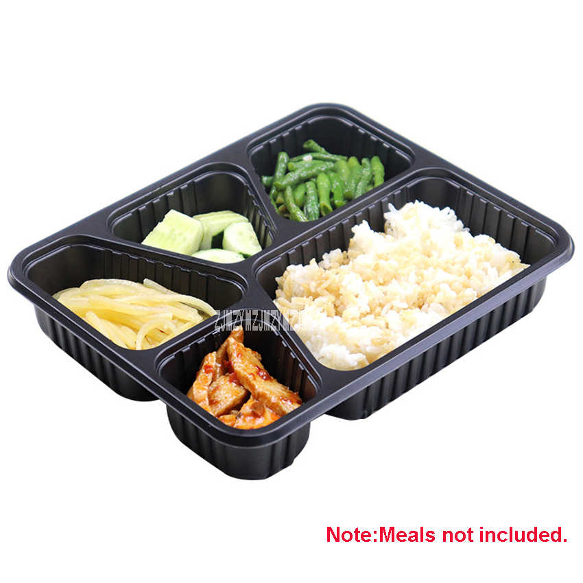 300 Sets SH105 1200ml Disposable Meal Box Five-grid PP Food Grade Plastic Lunch Boxes With Lid Commercial Takeaway Lunch Boxes