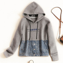 Shuchan  Korean Hoodie Patchwork Denim Casual  Womens Hoodies Pullover Streetwear Women Sweatshirt 2019 Autumn Winter Clothing цена и фото