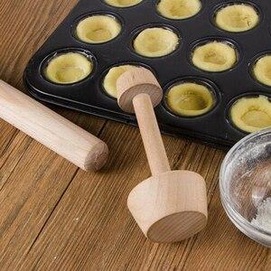 Double Side Wooden Egg Tart Tamper Portable Double Side Pastry Egg Tart Pusher Eggtart Mold Kitchen Baking Tools TSLM1