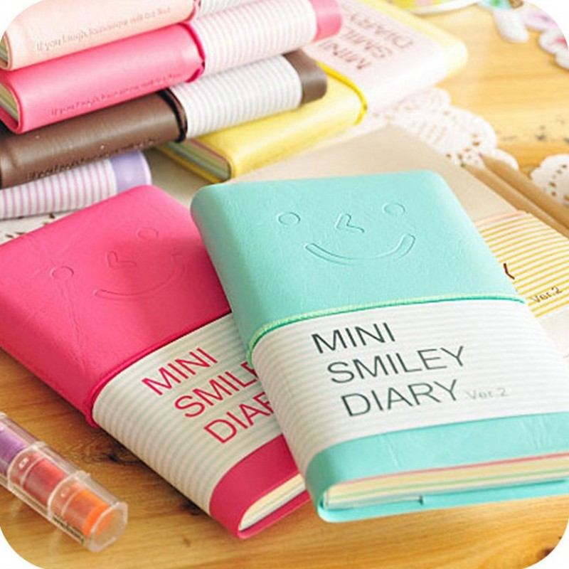 Candy Color Fashion Cute Charming Mini Smiley Notebook Diary/week Memo Book PU Leather Note Pads Stationery Pocketbook Wholesale
