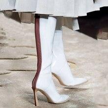 Новинка года; высокие ботинки; ботинки по колено; эластичные цветные ботинки на высоком каблуке; пикантные ботинки из натуральной кожи