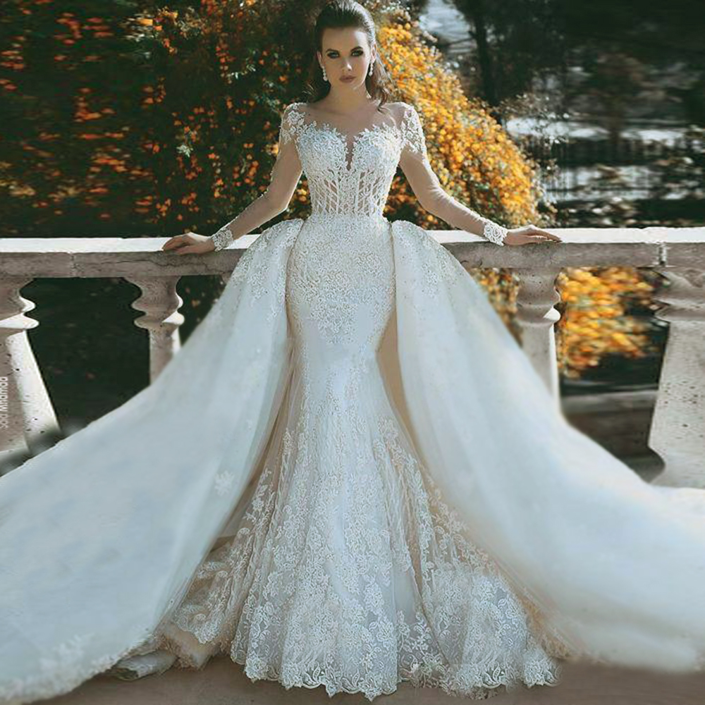 Robe De Mariee Mermaid Lace Wedding Dresses With Detachable Train Sheer Neck Long Sleeves Beaded Dubai Arabic Bridal Gowns Dress