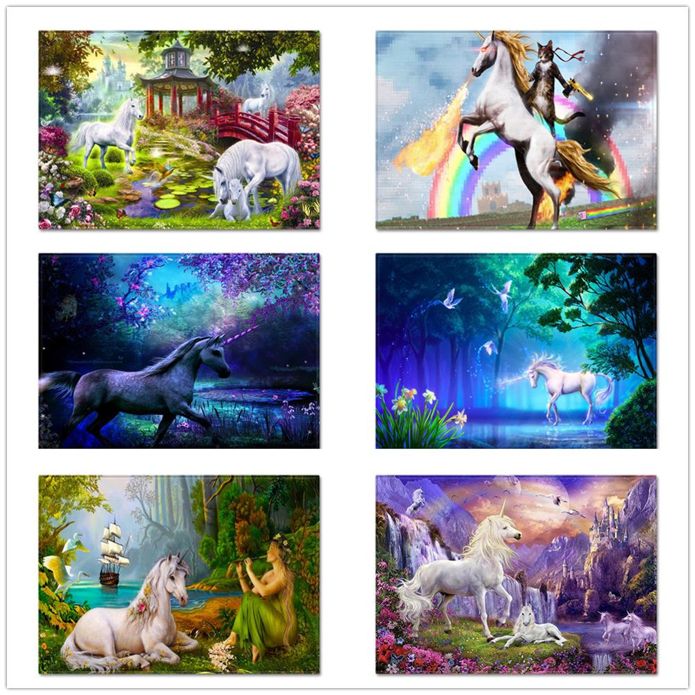 Cartoon 3D Unicorn Carpets for Living Room Area Rug Xmas Kids Room Play Mat Child Christmas Gift Soft Flannel Large Size Carpet image