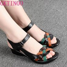2020 Summer women genuine leather sandals wedges open toe shoes comfortable female sandals mother shoes plus size(35 42)
