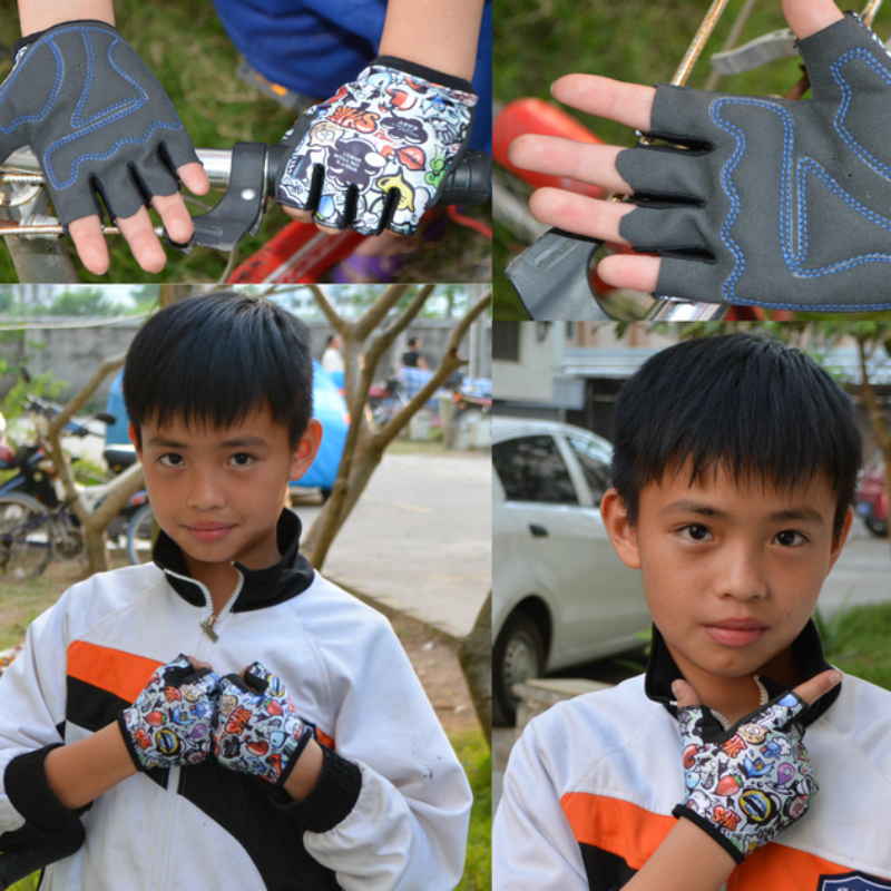 New Mountain Bike Riding Outdoor Sports Fitness Short Finger Children Half Gloves  SER88