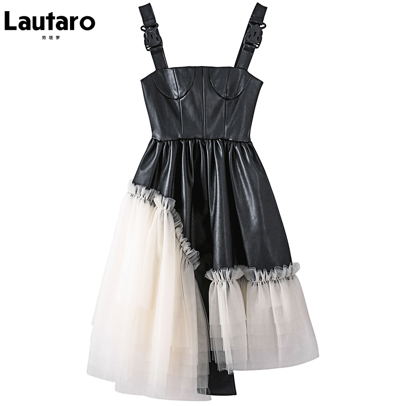 Lautaro Short lace patchwork pu leather dress women Spaghetti strap dress Soft faux leather mini overall dresses for women 2021