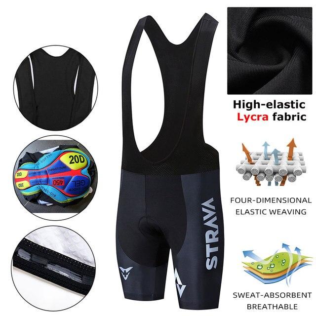 STRAVA Pro Team 2020 Neue Radfahren 20D GEL Pad Bib Shorts MTB Quick Dry Atmungsaktive Gepolsterte Sport Fahrrad Tragen Fahrrad LICRA