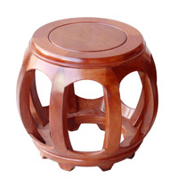 Mahogany drum stool Chinese solid wood round stool rosewood carved antique living room coffee table stool guzheng stool|  -