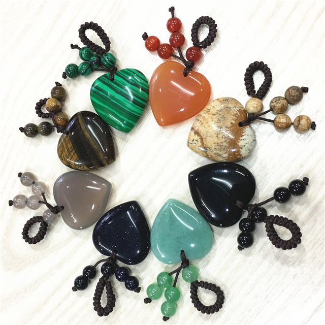 Hot New 10PC Natural Stone Pendant Key Ring Gifts for Men Women R Keyrings Hot Heart Shape Keychain Jewelry Car Key Accessories
