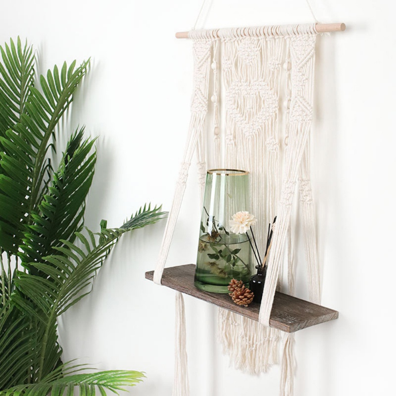 Nordic Macrame Woven Tapestry Wooden Wall Shelf  Bohemian Wall Hanging Toy Flowerpot Storage Rack Home Kid Room Decoration