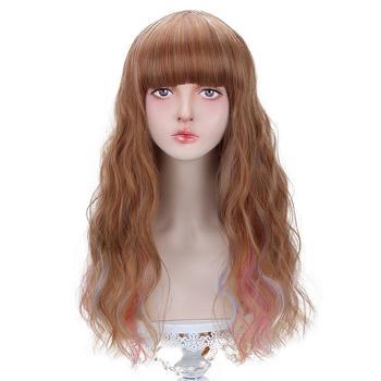 Darmowe piękno długie falowane syntetyczne wielokolorowe kasztanowe kasztanowe różowe fioletowe niebieskie włosy peruka z grzywką dla kobiet Lolita przebranie na karnawał