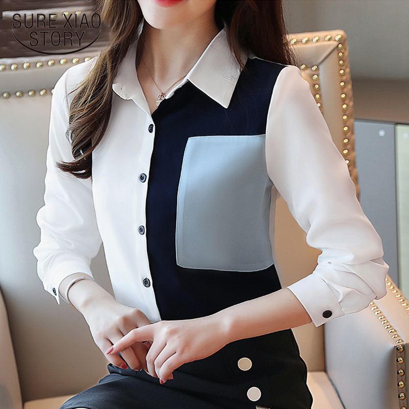 Koran Fashion Clothing New Long Sleeve Striped Blouse 2020 Spring Women Clothes Tops Office Lady Blouse Blusas 7089 50