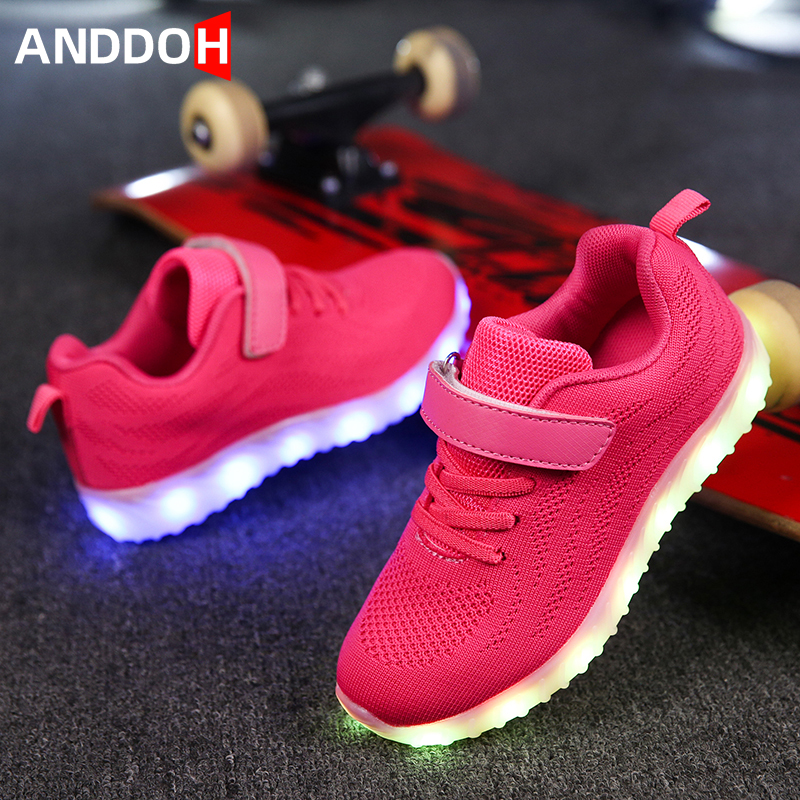 Size 25-35 Children's Shoes Luminous Sneakers For Girls Sneakers With Luminous Sole USB Charging Glowing Casual Led Light Shoes