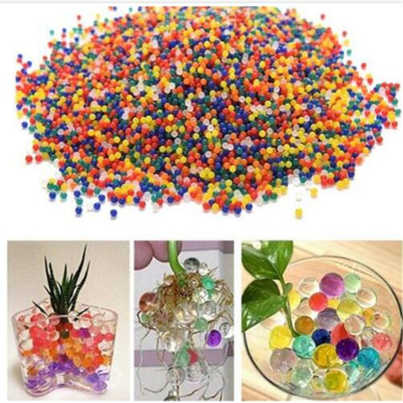500pcs Colorful Pearl Gel Ball Polymer Hydrogel Crystal Mud Soil Water Beads Grow Magic Jelly Wedding Home Party Plant Potted