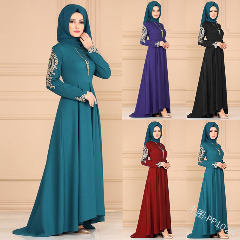 Arabic Woman Dress Muslim Women Dresses Arm Print Classical Noble Temperament Dress Irregular Skirt Long Sleeve Maxi Dresses