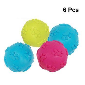 6Pc do żucia piłki do zabawy trwałe kolorowe portatywne nietoksyczny do żucia piłki do zabawy piskliwy piłki dla psów Puppy do żucia żuchach tanie i dobre opinie Other Squeak zabawki