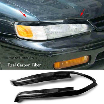 Real Crabon Fiber Head light Eyelid Eyebrow Cover Trim 1pair for Honda Accord 1994-1997 T172 1