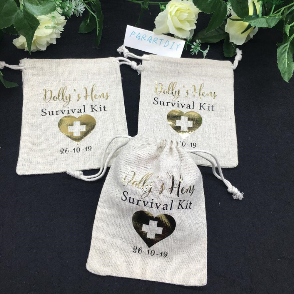 Item 1854A Bachelorette or Birthday Party Survival Kit Bags Bride and Team Bride Favors  Set of 10