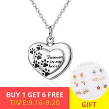 XiaoJing 925 Sterling silver forever in my heart pendant cremation Dog paw urn necklace for Women memorial Jewelry free shipping
