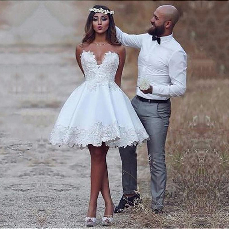 Eightale Short Wedding Dress A-Line Stain Lace Appliques Summer Cute Sleeveless Wedding Gown White Ivory Party Bride Dresses