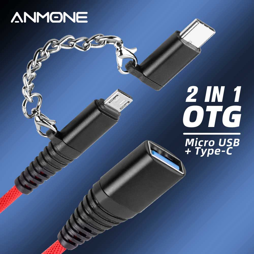 ANMONE 2 In 1 OTG Adapter Cable Type-c Public+Micro USB Public Transfer USB2.0 Mother-in-Mother OTG Line For Xiaomi 10 Note 10