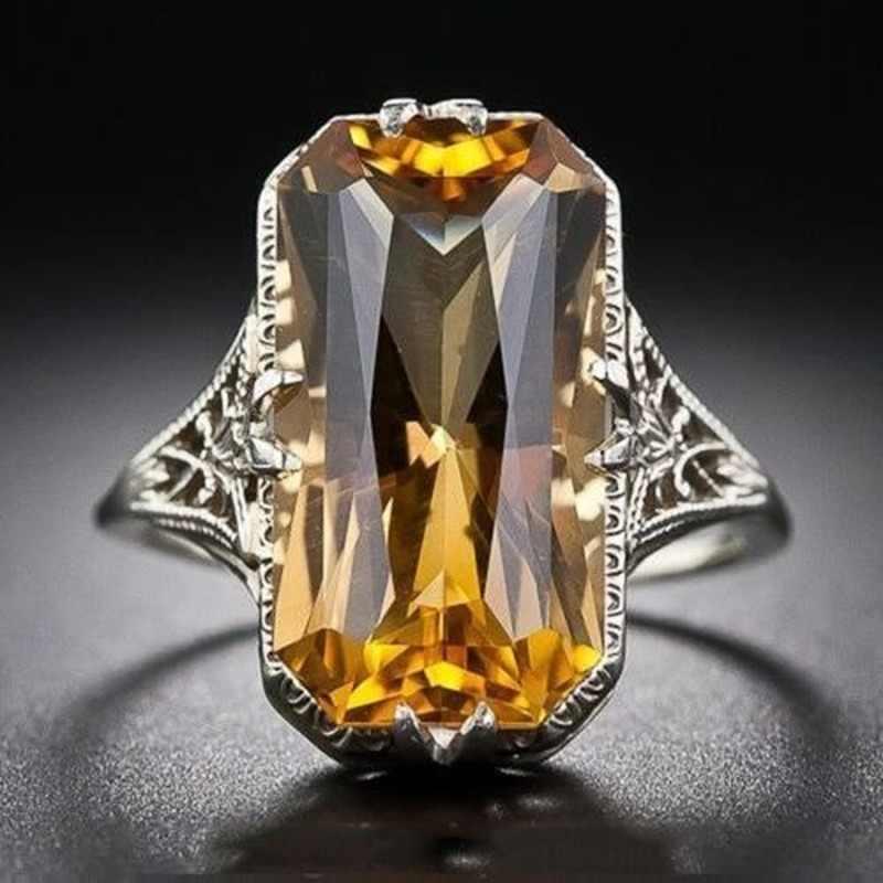 סיטרין חלול מגולף 925 כסף טבעות מוגזמת כסף יד תכשיטי נשים חן טבעת