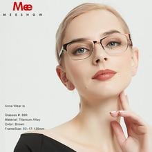 MEESHOW titanium alloy Glasses frame womens glasses  rhinestone eye glasses myopia prescription glasses spectacles frame 809