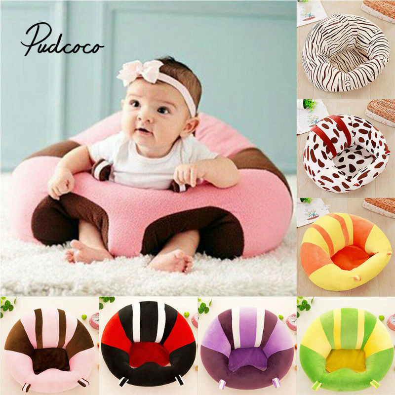 45 X 45cm Baby Seat Baby Learning To Sit Cute Striped+Leopard Design Chair Baby Support Seat Soft Sofa Plush Toys Suit For 0-2Y