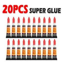 20 pçs líquido super cola de madeira de borracha metal vidro cianoacrilato adesivo papelaria loja gel prego 502 instantânea forte bond couro