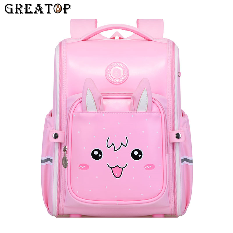 GREATOP Cute Kids Schoolbags Waterproof Leather Large Capacity All Open Children School Backpack Girls Lovely Students Bags