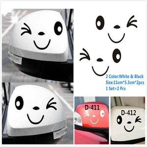 Image 5 - 1 مجموعة = 2 قطعة ملصق سيارة بات ألياف الكربون سيارة ملصقا مرآة الرؤية الخلفية سيارة ملصقا لطيف ديكور سيارة ملصقا وجه مبتسم