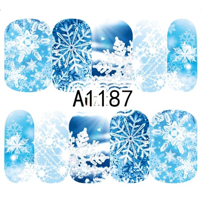 1 sayfalık noel kar çiçek tırnak çıkartmaları tam sarar su transferi Sticker Nail Art çıkartmaları manikür şekillendirici araçları BEA1187