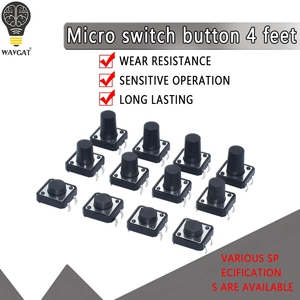 20PCS 12x12 12*12*4.3mm 5mm 6 7 8 9 10 11 12 13 14 15 16 17 4Pin Tactile Tact Push Button Micro Switch Self-reset DIP Switches