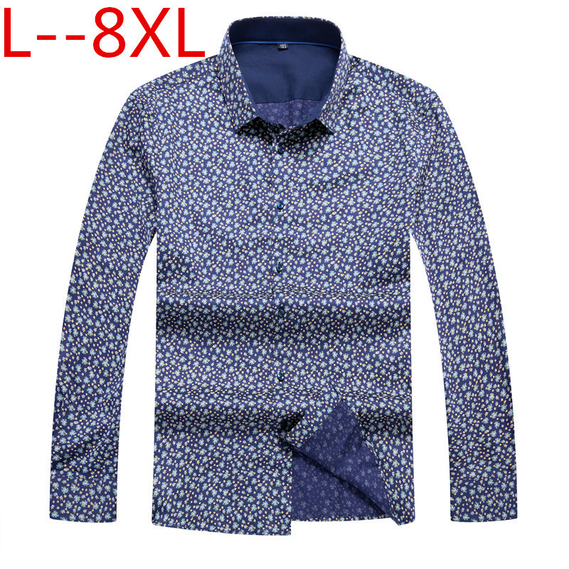 8XL 6XL 5XL Men's Casual Shirt  Spring 3D National Style Printing Floral Pattern Men Fashion Edition Long Sleeve Shirt