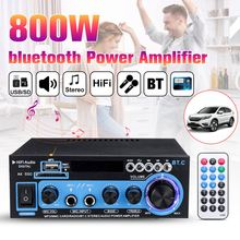 HIFI 2CH 800W Power bluetooth Audio Amplifier 12/220V Home Theater Amplifiers Audio with Remote Control Support FM USB SD Card