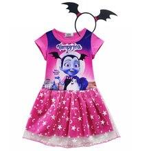 От 3 до 10 лет модное летнее платье для девочек; вампира для ребенка, платье принцессы Vampirin Детские платья с принтом для девочек, одежда, костюм для Хэллоуина