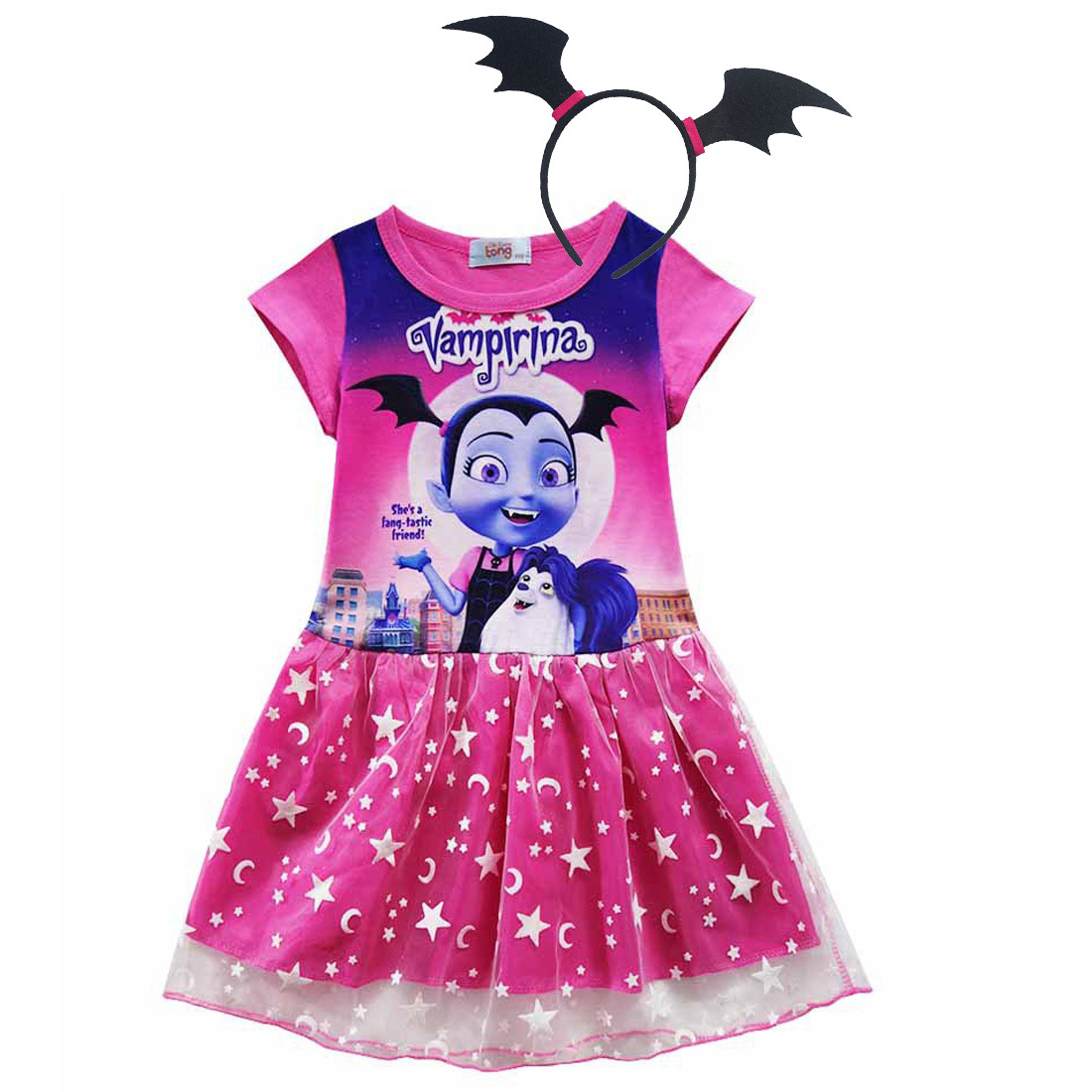 3-10Y Girls Dress Summer Fashion Vampire Kids Dress Princess Vampirin Children Dresses Print Girls Clothes Halloween Costume