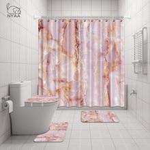 Nyaa banheiro conjunto 4 pçs textura de mármore não deslizamento toalete poliéster capa esteira conjunto cortinas chuveiro do banheiro decoração rideau de douche
