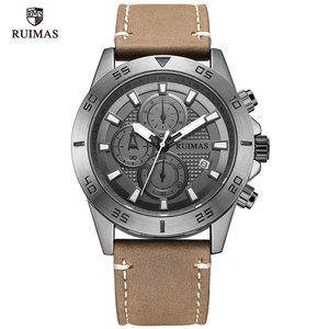 Image 2 - RUIMAS Fashion Quartz Watches Men Luxury Top Brand Chronograph Watch Man Leather Army Sports Wristwatch Relogios Masculino