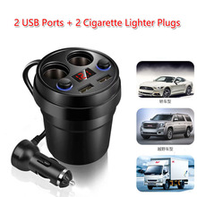 Power-Socket-Adapter Chargers Splitter Cigarette-Lighter Mobile-Phone Voltage with Led-Display