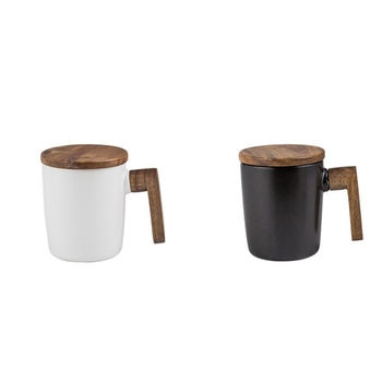 Kubki upominkowe drewniany uchwyt z pokrywką kubki do kawy miłośnicy kubki do kawy zestaw podarunkowy Retro ceramiczny kubek do kawy tanie i dobre opinie CN (pochodzenie) KRÓTKI Bez elementów CE UE Mugs Ekologiczne Na stanie Pottery Coffee Mugs Handgrip