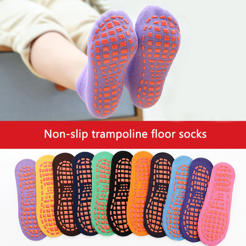 Kids Anti-Slip Sock Boy Girl Trampoline Sock Blue Black Cotton Short Socks Breathable Elasticity Sport Child Outside Foot Wear