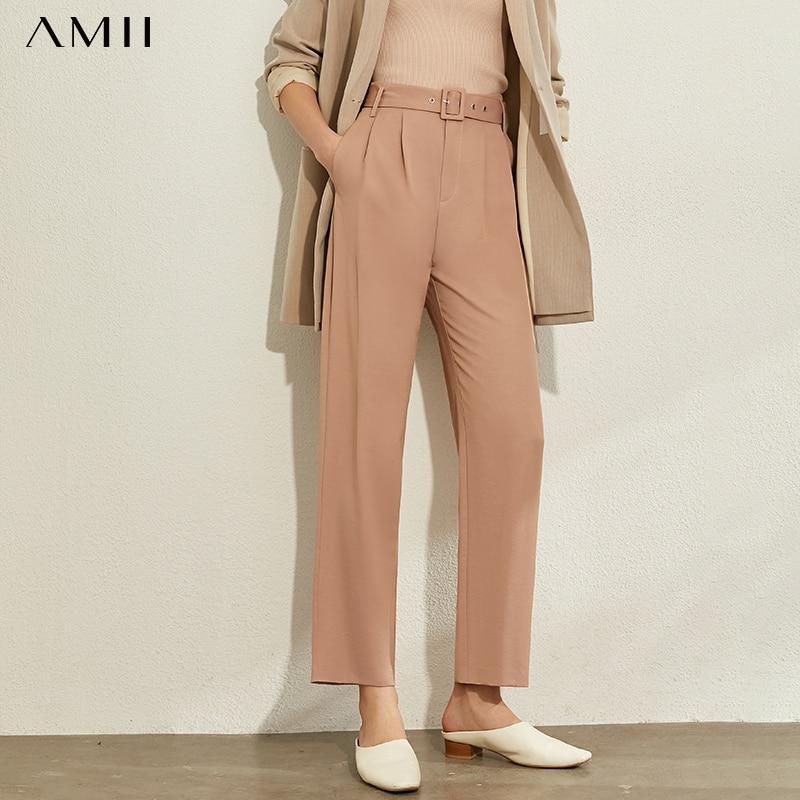 AMII Minimalism Spring Summer Solid Pleated Causal Women Pants Fashion High Waist Belt Ankel-length Female Pants 12030176